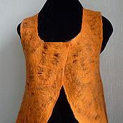 Одежда ручной работы. Ярмарка Мастеров - ручная работа Жилет валяный двухсторонний Коричневый, пестрый, оранжевый.. Handmade.