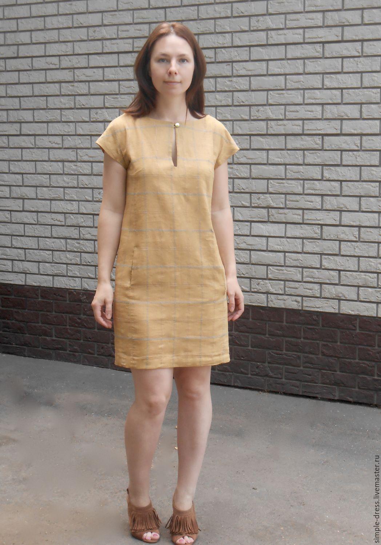 bb40d6e9d1b Платья ручной работы. Ярмарка Мастеров - ручная работа. Купить Льняное  платье в клетку.