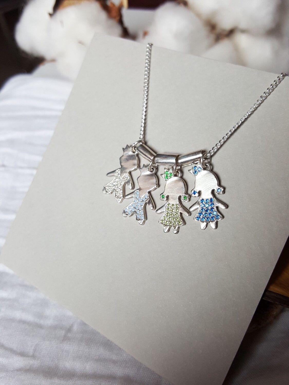 Колье для мамы с фигурками детей из серебра. Колье дети с гравировкой, Колье, Ниш,  Фото №1