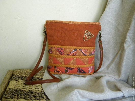 Женские сумки ручной работы. Ярмарка Мастеров - ручная работа. Купить Оранжевый лен, маленькая сумка. Handmade. Рыжий, латунь
