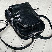 Сумки и аксессуары ручной работы. Ярмарка Мастеров - ручная работа Double zip bagpack: black. Handmade.
