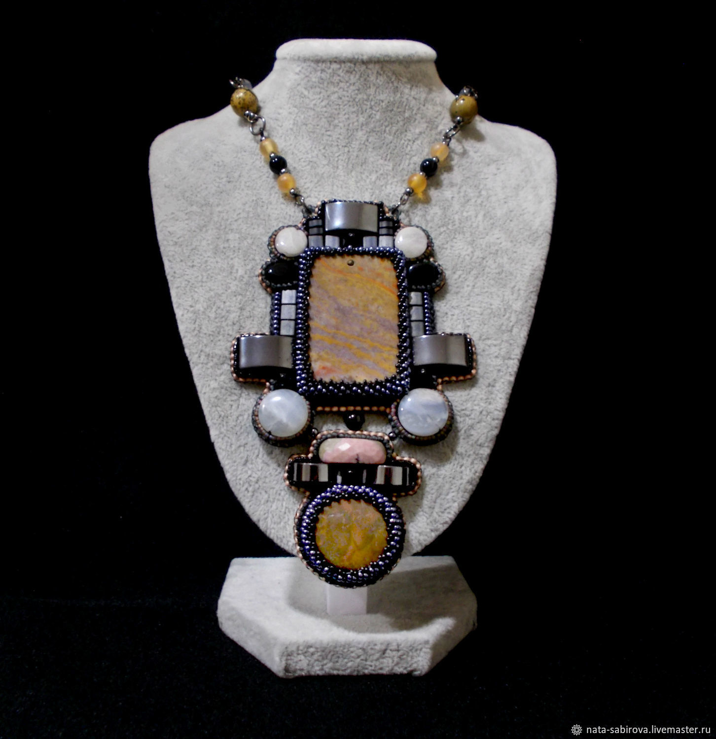 Large pendant 'Bastion' with Jasper, agate and hematite, Pendants, Mozhga,  Фото №1