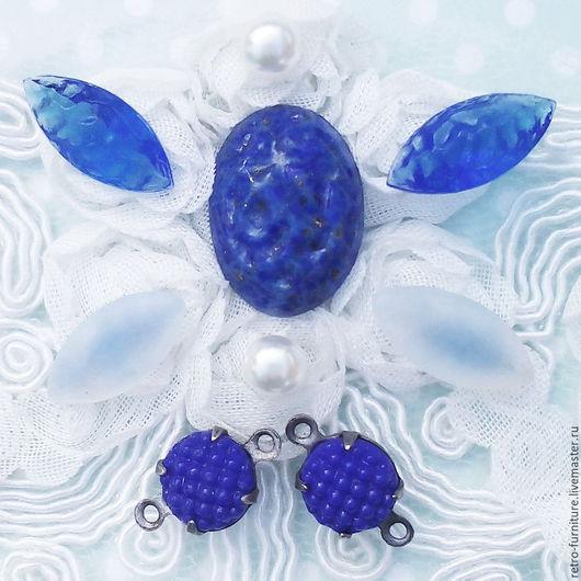 """Для украшений ручной работы. Ярмарка Мастеров - ручная работа. Купить Винтажный набор: кабошон, стразы, кристаллы """"Blue"""". Handmade."""