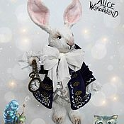 Куклы и игрушки handmade. Livemaster - original item White rabbit of Alice in Wonderland Bunny Teddy fur toy. Handmade.