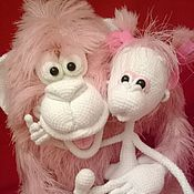 Куклы и игрушки handmade. Livemaster - original item Family monkeys - mother, Puffy and girl Marshmallow. Handmade.