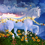 Картина - Единорог в лучах рассвета. Масло, холст