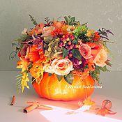 "Composition handmade. Livemaster - original item Interior composition ""Autumn bouquet in a pumpkin"".. Handmade."