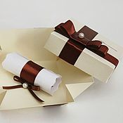 """Свадебный салон ручной работы. Ярмарка Мастеров - ручная работа Приглашение-свиток """"Cream&Chocolate"""". Handmade."""