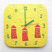 Для дома и интерьера handmade. Livemaster - original item Wall clock for children Houses handmade watches. Handmade.