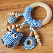 Куклы и игрушки ручной работы. Ярмарка Мастеров - ручная работа Прорезыватель-кольцо с совой голубой с серым. Handmade.