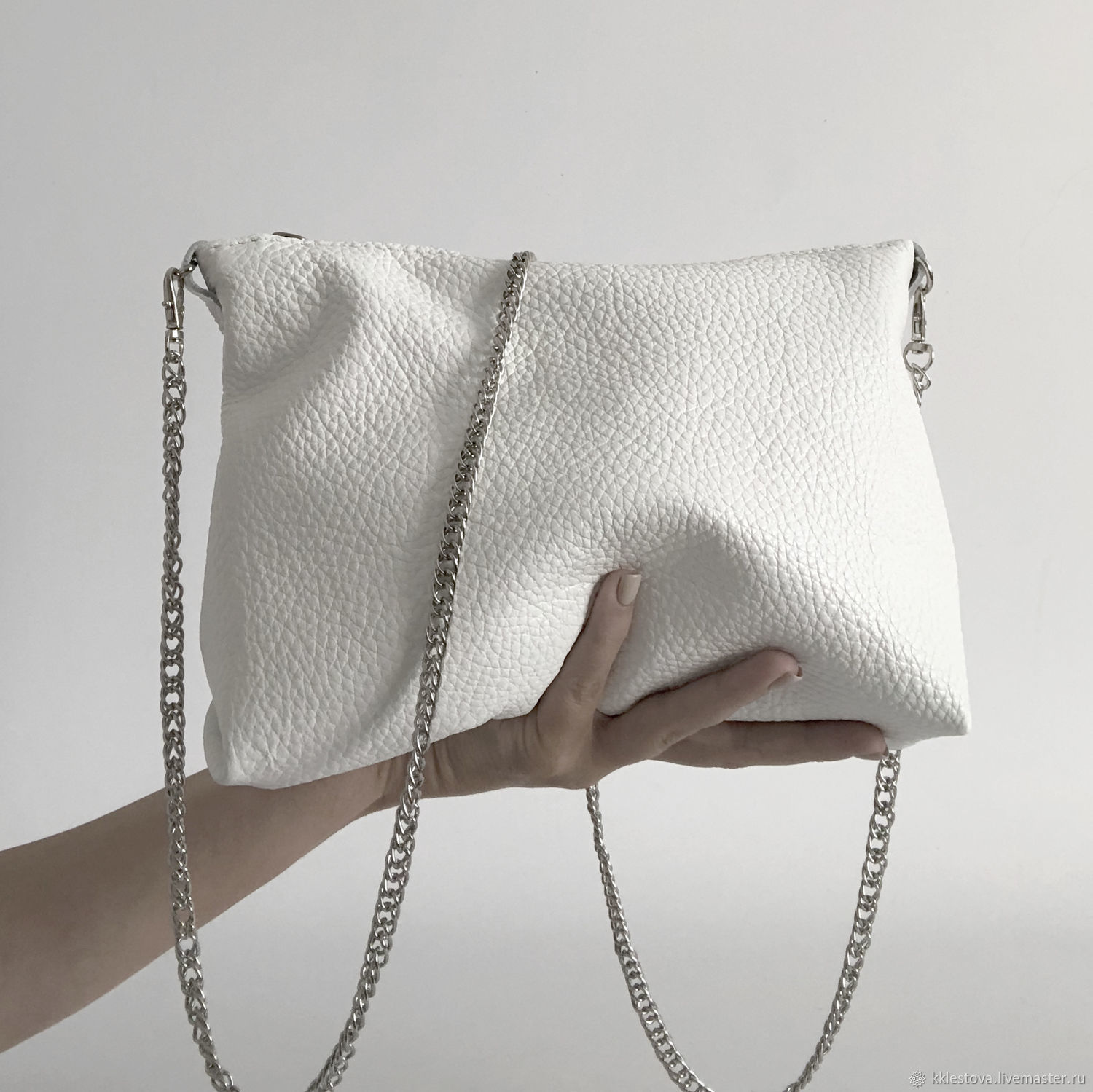 White leather crossbody bag with chain evening Clutch, Clutches, Moscow,  Фото №1