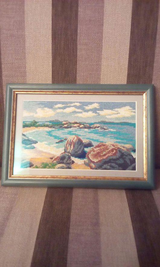 Пейзаж ручной работы. Ярмарка Мастеров - ручная работа. Купить ,,Морской берег,,. Handmade. Море картина, океан, пейзаж, канва