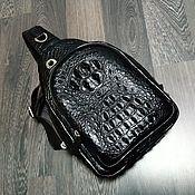 Сумки и аксессуары handmade. Livemaster - original item Men`s bag, made of embossed crocodile leather, black color. Handmade.