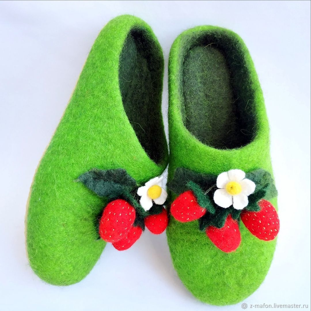 Slippers strawberry glade felted, Slippers, Tomsk,  Фото №1
