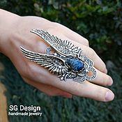 Украшения handmade. Livemaster - original item Angel ring Variscite, a large ring with wings. Handmade.