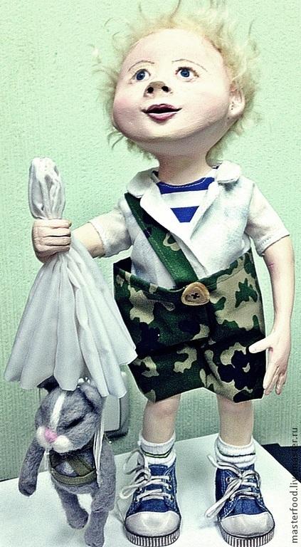 Коллекционные куклы ручной работы. Ярмарка Мастеров - ручная работа. Купить Мечта. Handmade. Голубой, вдв, армия, Паперклей