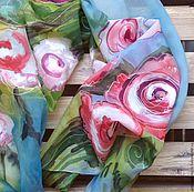 """Аксессуары ручной работы. Ярмарка Мастеров - ручная работа Батик  Шарф  """"Розовый куст"""". Handmade."""