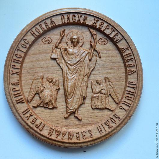 Иконы ручной работы. Ярмарка Мастеров - ручная работа. Купить Резное панно из дерева Воскресение Христово, 170х170 мм. Handmade.