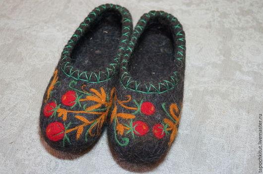 """Обувь ручной работы. Ярмарка Мастеров - ручная работа. Купить Валяные тапочки """"Хохлома"""". Handmade. Темно-серый, тапочки домашние"""