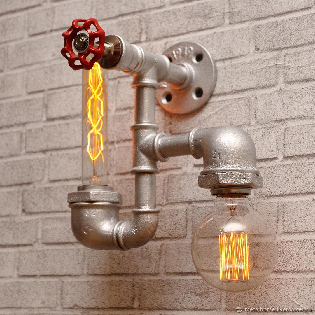 Светильник, лампа в стиле лофт, индастриал, стимпанк, ретро, Освещение, Москва, Фото №1