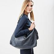 Сумки и аксессуары handmade. Livemaster - original item Blue Bag hobo Bag Duffel shopper with two pockets. Handmade.