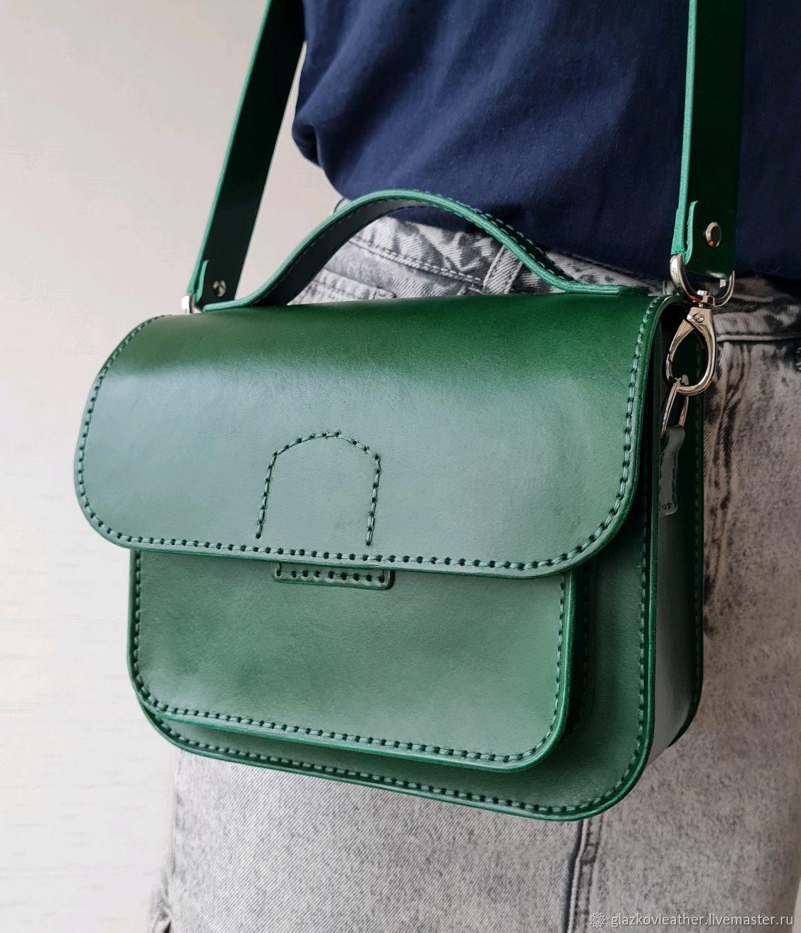 Сумка женская зеленая из натуральной итальянской кожи ручной работы, Классическая сумка, Иваново,  Фото №1
