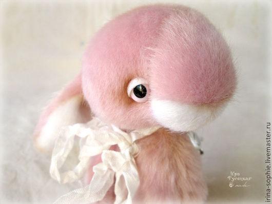 Мишки Тедди ручной работы. Ярмарка Мастеров - ручная работа. Купить Зефирка. Розовый зайчик. Тедди. Handmade. Бледно-розовый