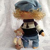 Куклы и игрушки ручной работы. Ярмарка Мастеров - ручная работа Босоногий малыш с медвежонком Лаки. Handmade.