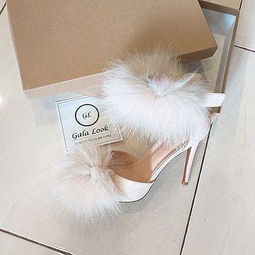 Обувь ручной работы. Ярмарка Мастеров - ручная работа Дизайнерские свадебные вечерние туфли с  натуральным мехом. Handmade.