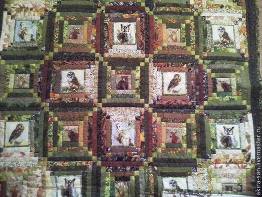 Текстиль, ковры ручной работы. Ярмарка Мастеров - ручная работа. Купить Лоскутное одеяло СОВЫ И ЗВЕРИ. Handmade. лес
