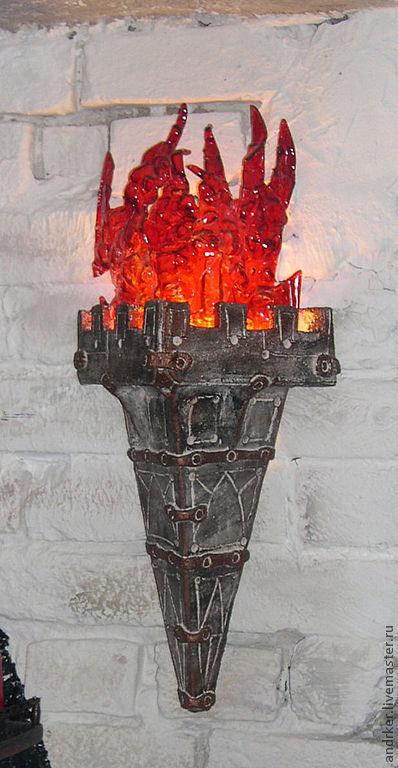 Освещение ручной работы. Ярмарка Мастеров - ручная работа. Купить Факел. Handmade. Бра, стекло, стекло цветное