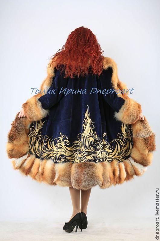 """Верхняя одежда ручной работы. Ярмарка Мастеров - ручная работа. Купить Пальто """"Зимняя сказка""""из синей замши с мехом лисы. Handmade."""