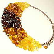 Украшения handmade. Livemaster - original item Solar - Amber Etude. Necklace from natural amber and leather. Handmade.