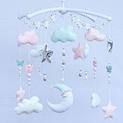 Работы для детей, handmade. Livemaster - original item Newborn gift: Children`s mobile Moon Stars. Handmade.