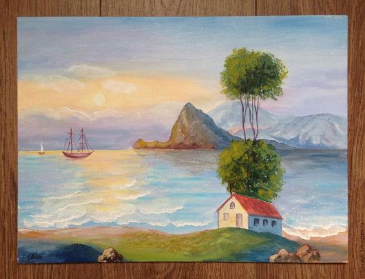 Пейзаж ручной работы. Ярмарка Мастеров - ручная работа. Купить Картина холст пейзаж Дом у моря. Handmade. Голубой