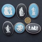 Комплект брошей, серебро, камеи,  Wedgwood Англия 1954-1967