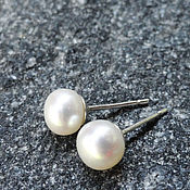Stud earrings handmade. Livemaster - original item Silver studs with natural white freshwater pearls. Handmade.