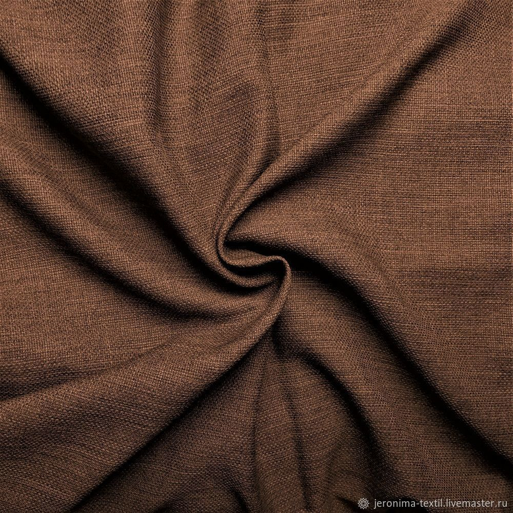 Портьера под лен Н320 см Меланж Шоколадно-коричневый, Портьеры и гардины, Москва,  Фото №1