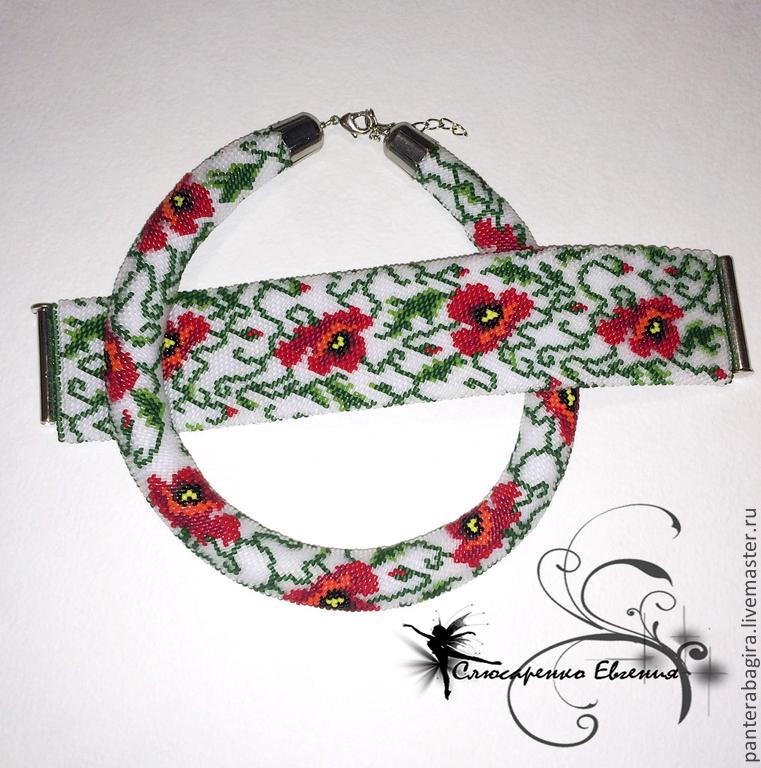 Jewelry Sets handmade. Livemaster - handmade. Buy Harness bead bracelet 'Poppies on white' jewelry set.Bright red