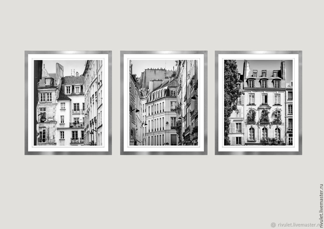 Paris photo paintings black and white posters, triptych Windows on the streets of Paris, Fine art photographs, Moscow,  Фото №1