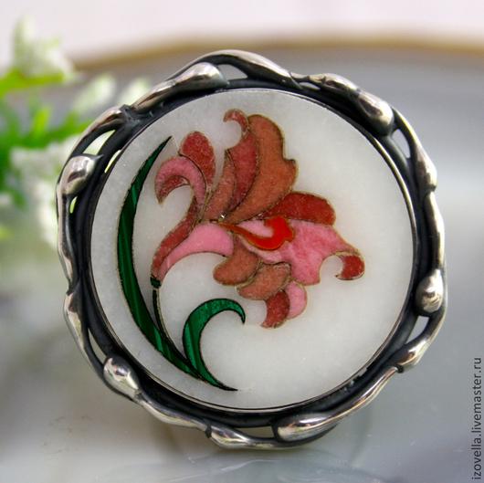 """Кольца ручной работы. Ярмарка Мастеров - ручная работа. Купить Кольцо """"Лилия"""" - флорентийская мозаика, серебро. Handmade."""