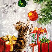 Картины и панно handmade. Livemaster - original item Oil painting Christmas miracle. Handmade.