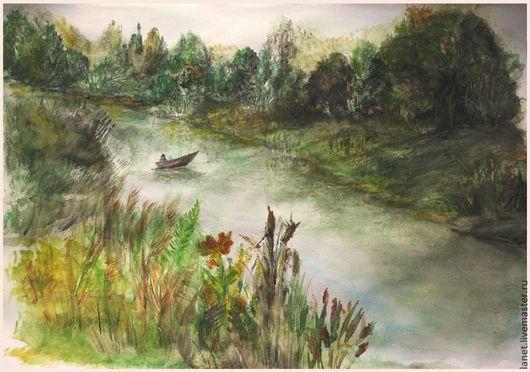 """Пейзаж ручной работы. Ярмарка Мастеров - ручная работа. Купить Акварель """"Лодочник"""". Handmade. Оливковый, серый, река, берег, рыбак"""