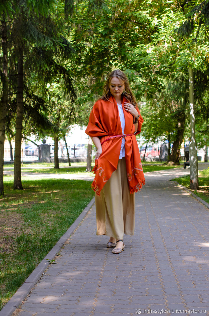 Orange shawl with embroidery, Wraps, Novosibirsk,  Фото №1