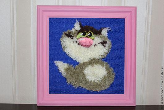 Животные ручной работы. Ярмарка Мастеров - ручная работа. Купить Кот пушистый объемная картина из пряжи 38 х 38. Handmade.