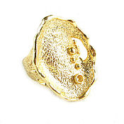 Украшения handmade. Livemaster - original item Gold large ring crater,an unusual ring without inserts. Handmade.