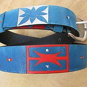 Аксессуары handmade. Livemaster - original item INDIGO ETHNICS strap leather. Handmade.