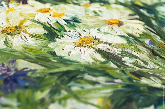 Белые ромашки Лето цветы Зеленый белый васильковый желтый Картина с цветами масло Картина полевые цветы Полевые цветы маслом