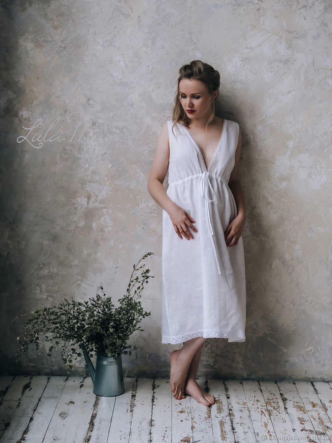 Linen nightgown 'Emmanuelle' white, Nightdress, Moscow,  Фото №1