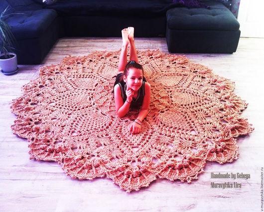 Текстиль, ковры ручной работы. Ярмарка Мастеров - ручная работа. Купить Ковер вязаный 2.50 м., с рельефными узорами. Handmade.